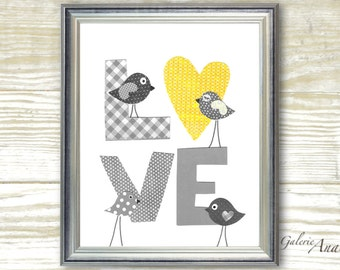 Yellow gray Nursery Baby Boy Nursery Decor LOVE print Nursery art prints nursery wall art baby Girl Nursery Decor kids art birds Nursery