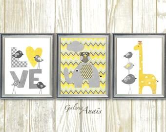 Grey yellow chevron, Nursery art, baby nursery decor, nursery wall art, bird owl nursery, Love, elephant nursery giraffe, Set of 3 Prints