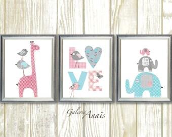 Baby girl nursery decor kids wall art giraffe nursery art elephant nursery wall art Birds Love pink gray blue nursery Set of three prints