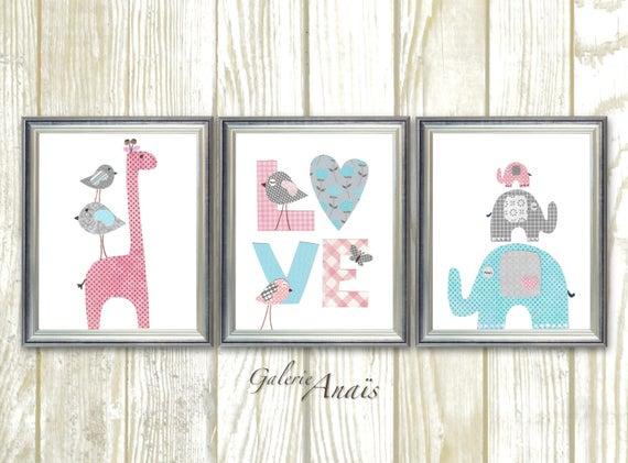 Baby Girl Nursery Decor Kids Wall Art Giraffe Nursery Art
