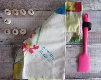 Floral tea towel, Mother's Day Gift, Domestic Goddess,towel,linen Teatowel, embroidered tea towel, kitchen towel, gift for cook, hostess