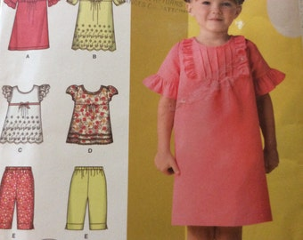 Simplicity Sewing Pattern 3 4 5 6 7 8 Summer DRESS Tucks Ruffles Tunic Shorts 2009 uncut factory folds