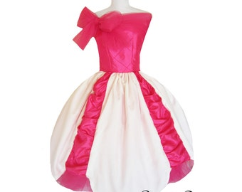 Ruffly Bow Dress Cream and Fusia Hot Pink Scrap box Wedding Dress for Prom custom in your size