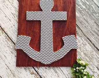 Black White Chevron Anchor Wood Sign