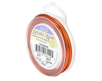 Artistic Wire 18 Gauge Silver-Plated Tangerine Orange 41311 Orange Round Wire, Jewelry Wire, Craft Wire, Silver Plated Wire, Wire Wrapping