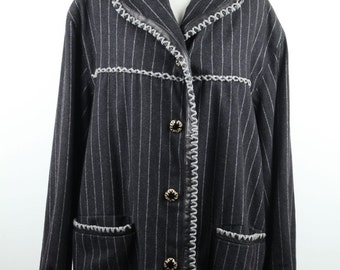 EDDI VINTAGE Pinstriped Wool MID lenght jacket w/leather trim italian size 44 it