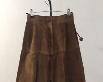 1970s Brown Suede Snap Front Skirt XS