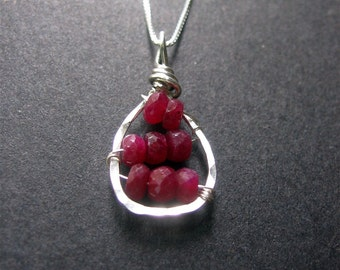 Ruby Necklace, Ruby Sterling Silver Necklace, Ruby Pendant, Gemstone Necklace