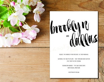 Brushy Invitation Set - Thermography Available!