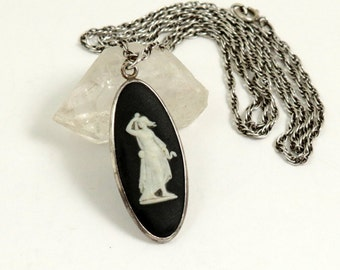 Vintage Wedgwood Necklace with Sterling Silver Chain and Black Jasperware Cameo Pendant