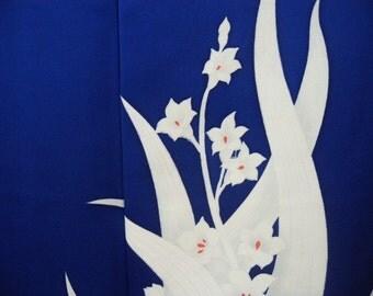 Vintage kimono S374,  blue, floral design