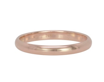 14K Rose Gold Ring, 3mm by 1.5mm Half Round Classic Style Wedding Band, Unisex Recycled Gold Ring, Sea Babe Jewelry