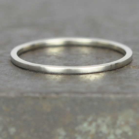 white gold wedding band square edge 1mm by 1mm 14k