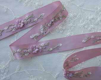 1 Yard Hand Embroidered Dusty Rose Pink Satin Ribbon Flower Trim Baby Doll Christening Gown