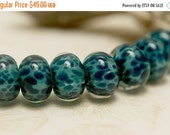ON SALE 35% OFF Seven Teal Blue Free Style Rondelle Beads - Handmade Glass Lampwork Bead Set 10408601