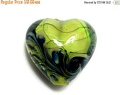 ON SALE 35% OFF New! Handmade Glass Lampwork Bead - 11837305 Spring Green Shimmer Heart