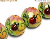 ON SALE 45% OFF Handmade Glass Lampwork Set - Four Ladybug on Spring Green Lentil Beads 10506012