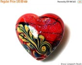 ON SALE 50% OFF Handmade Glass Lampwork Bead - 11836605 Passion Pink Shimmer Heart