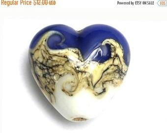 ON SALE 40% OFF White and Purple Heart 11808905 - Handmade Glass Lampwork Bead
