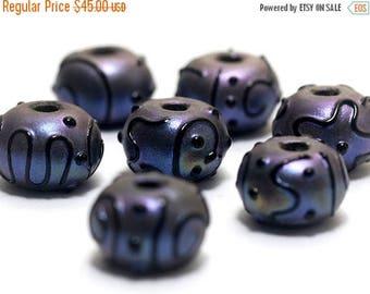 ON SALE 35% OFF Handmade Glass Lampwork Bead Set - Seven Purple Pearl Surface Rondelle Beads 11204701