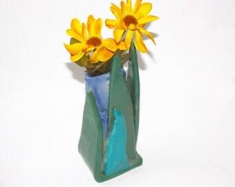 Art Pottery Vase Miniature Hand Built, Sculptural, Multicolor Glazed Stoneware for Flower Arranging Bud  Gift for Her