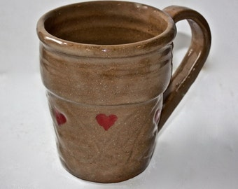 Ceramic Mug Stein  in Stoneware Holds One and Three Quarters Cup Hand Thrown One of a Kind Carved Surface with Hearts