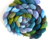 Falkland Wool Roving - Hand Dyed Spinning or Felting Fiber Fiber, Weather Cocoon, 4 ounces
