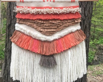 Handwoven Wall Hanging: cream, coral, pink, and brown with cherry