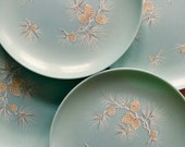"Six (6) 10"" Melmac Aqua Dinner Plates Dishes Pinecone Snow Winter 1950's Vintage"