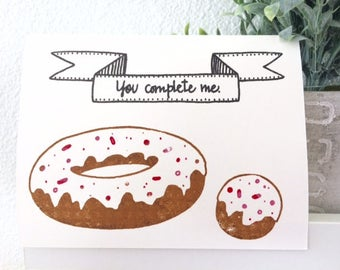 Love Card - You Complete Me - Gocco Donut Card from PaperMichelle
