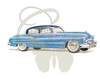 Car Vintage Downloadable Clipart Digital Craft Scrapbook Illustration Travel Driving