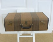 Vintage Striped Suitcase, Brown Tan Suitcase, Vintage Case, Industrial Storage, Antique Suitcase