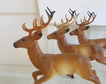 Vintage Set of Plastic Deer, Vintage Reindeer, Vintage Christmas Decor, Reindeer Figurine, Deer Figurine, Christmas Deer Reindeer