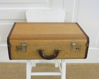 Vintage Tan Suitcase, Striped Suitcase, Brown Case, Vintage Luggage, Industrial Storage, Antique Suitcase, Striped Case
