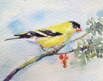 original watercolor painting ACEO yellow finch ,2.5x3.5 inches