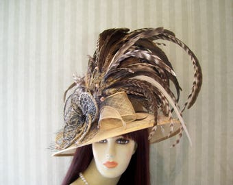 Preakenss Hat, Wedding Hat, Brown Wide brim Sinamay Hat, Belmont Hat, Tea Party Hat, Ascot Hat, Victorian, Downton Abbey