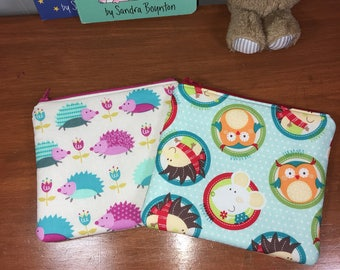 Set of 2 Girls Cute Animals Reusable Insulated Snack Bag, Zipper Pouch, Zipper Reusable Snack Pouch, Kids Snack Bag