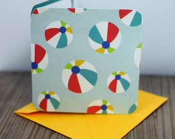 Blank Mini Card Set of 10, Beach Ball Design with Contrasting Pattern on the inside, Bright Yellow Envelopes, mad4plaid
