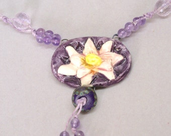 Boho Purple Floral Necklace, Lotus Flower Necklace, Amethyst Statement Necklace, Yoga Necklace, Botanical Necklace, Yoga Jewelry, Gift