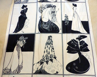 Vintage Art Nouveau Aubrey Beardsley Fabric Lady Panels - Yardage - NOS