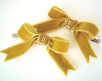 Gold Velvet Bow Hair Clips, Two Beaded Gold Ribbon Hair Clips, Teen Hair Bow Clips, Childrens Snap Hair Clips, Womens Retro Style Clips