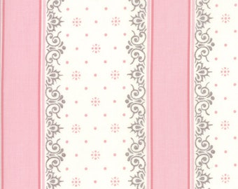 Lily Will Revisited Pink Gray Stripe fabric | Moda 2805 24 | Cotton Quilting fabric