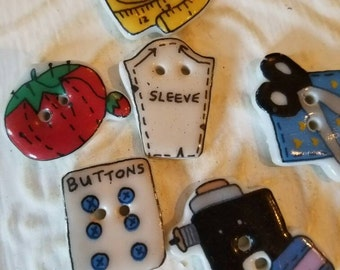Vintage Buttons - set of 6, sewing notions painted ceramic,   (feb 197 17)