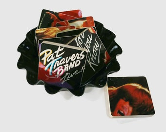 Pat Travers Band handmade wood coasters and vinyl bowl created from recycled Go for What You Know record album