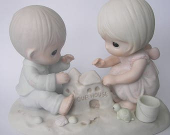 """Precious Moments """"God Bless Our Home"""" Porcelain Figurine - Enesco - Vintage Collectible - Sandcastle - 1984 - Retired - Housewarming Gift"""