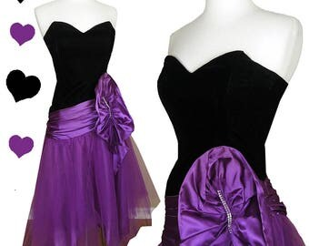 Vintage 80s Dress // Black Velvet Purple Tulle Prom Party Dress S Strapless Glam Satin Full Skirt Handkerchief Hanky Hem Dance Small