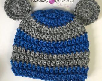 Newborn bear hat.. gray and blue... photography prop... ready to ship.. newborn boy beanie