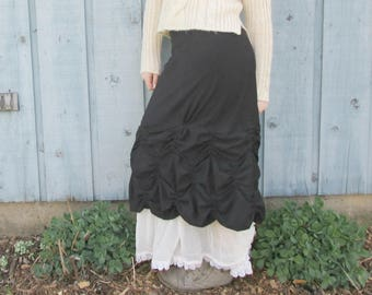 XL Romantic Black and White Ruched Skirt// Shabby Chic// Upcycled// emmevielle
