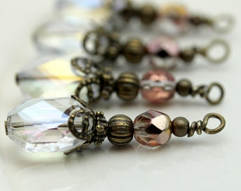 Antiqued Clear Oval Hexagon and Czech Faceted Crystal Bead Earring Dangle, Necklace Pendant Charm Drop Set