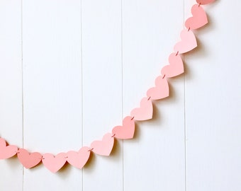 Coral Heart Garland / Wedding Decoration / Love Bunting / Anniversary Decor / Photo Prop / Adjustable Hand Sewn